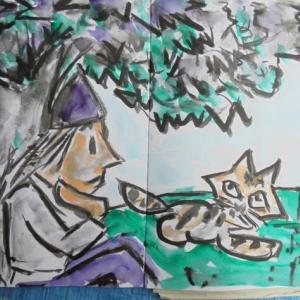 朝日記2190727 音楽紙芝居デモ動画と「わたくしの七月」そいて今日の絵