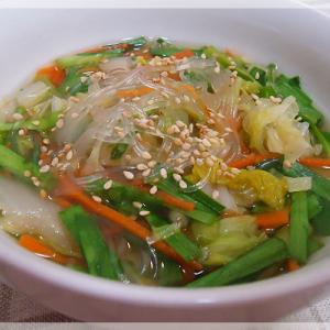 白菜とにらのスープ春雨