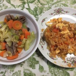 ケチャップライス、ラム肉野菜炒め