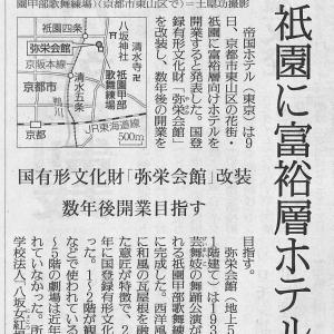 【京都のニュース】弥栄会館に富裕層ホテル。§今日も在宅。レジュメ作成。