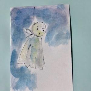 多い時も 安心、尿漏れパッドの事・・まだマスク洗ってます・・親に毎日絵手紙17