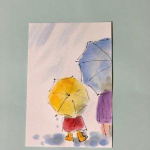 風で飛ばない、10万×2の封筒、不仲な夫から受け取る、親に毎日絵手紙、トウモロコシ、さくらんぼ