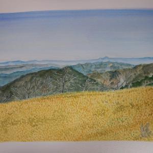 房小山を越えバラ谷の頭に向かう細尾根から見た北西の光景
