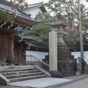 旧下小川町来教寺。ここのサルスベリは、中央の枝に白い花、周囲の枝に赤い花が咲く。いまが見頃。