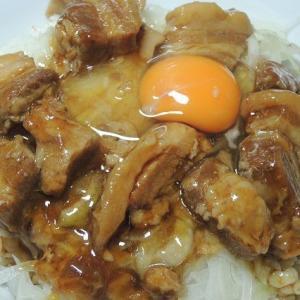 朝飯で 豚角煮丼 がっつりと