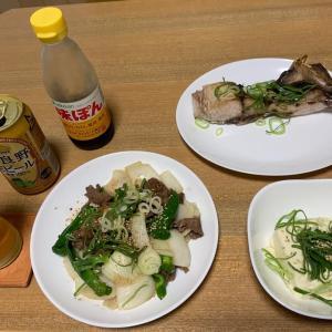 肉と魚で軽めに晩酌