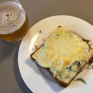 フライドいんげん&しらすチーズトースト