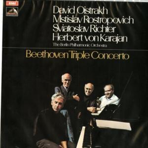 高名な三人も楽団員★オイストラフ、リヒテル、ロストロポーヴィチ、カラヤン指揮ベルリン・フィル☆ベートーヴェン・三重協奏曲