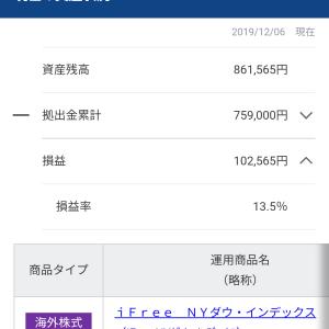 個人型確定拠出年金・iDeCo(イデコ)の運用資産公開!2019年12月6日現在