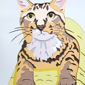 【オーダー品】おめめがキュルっ! トラ猫ちゃん彫紙アート