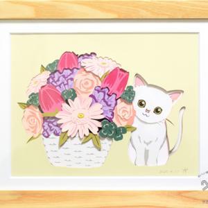 【オーダー品】お誕生日のプレゼントは、春のお花と白ネコちゃん♪