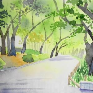 上野公園の風景を描く