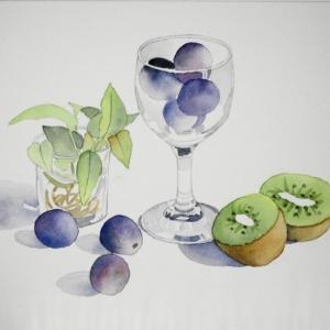 ワイングラスに葡萄^^