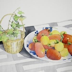 フルーツトマトに籐籠のアイビーを描く