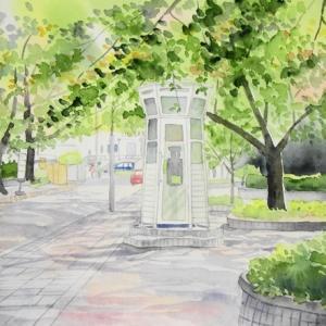 横浜山手本通りの風景を描く