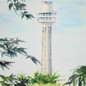 横浜山の手から眺めるマリンタワー風景