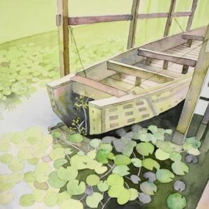 日本庭園にある睡蓮の池を描く