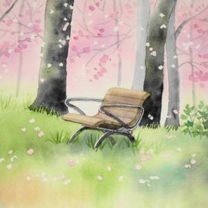 桜舞い散る風景を描く