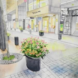 横浜元町風景を描く^^