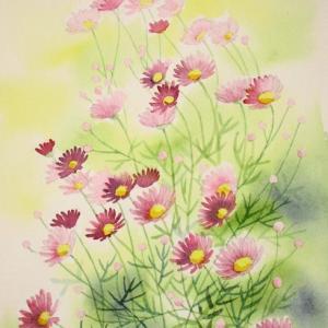 ピンク色の小さな花を描く
