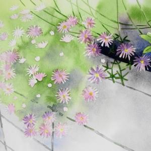 石垣に咲く花を描く。