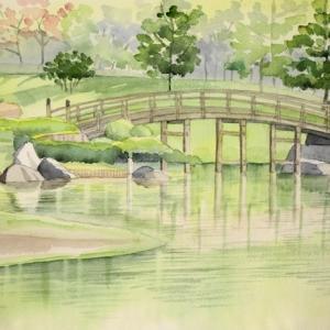 日本庭園の風景を描く^^
