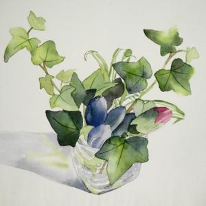 食卓に飾る花を描く^^