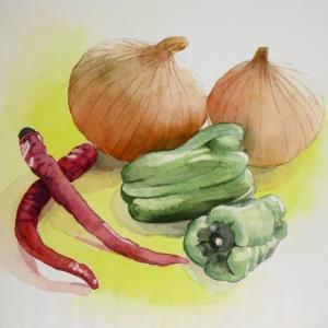 新潟から届いた野菜たちを描く^^