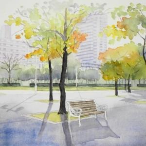 深まりゆく都会の秋を描く^^