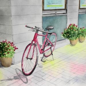 赤い自転車のある街角^^