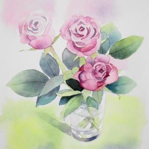 バラの花を描く^^