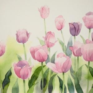 チューリップの咲く風景を描く