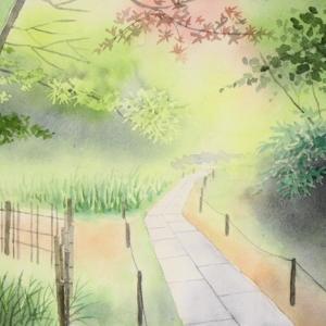 ある寺の裏庭の風景を描く。