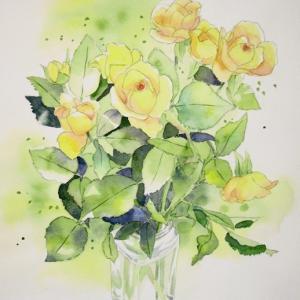黄色い薔薇を描く^^