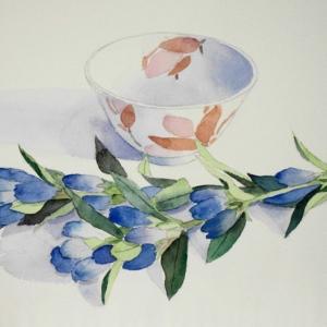 秋の訪れ、りんどうの花を描く。
