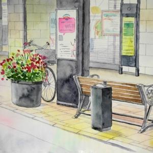 横浜元町通りを描く^^