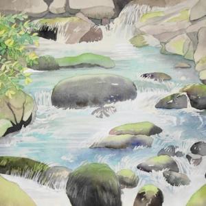 渓流の風景を描く^^
