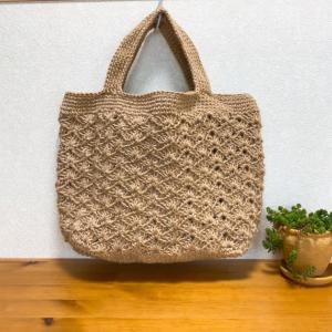模様編みの大きめトートバッグ