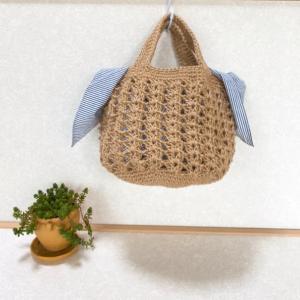透かし編みの麻ひもbag
