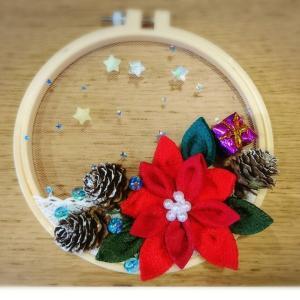 ●11月の月のマンデーワークショップのご案内〜ポインセチアのつまみ細工刺繍枠アート作り〜