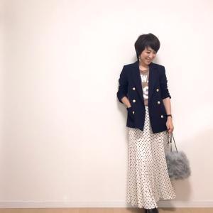 40代がカッコ良く着れるドット柄スカート