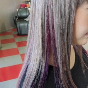 ♪夏のオシャレ髪☆シルバー×インナーピンク&パープル♪