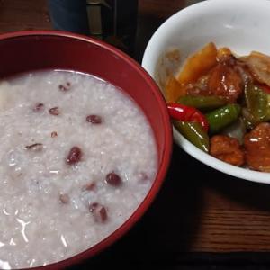 「今日のお昼ご飯」!!「餅入り小豆粥」!!