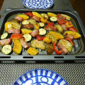 ブロックベーコンと夏野菜のグリル焼き