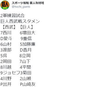 【2.28 B班練習試合】 ジャイアンツ × ライオンズ inG球場 先発:出井