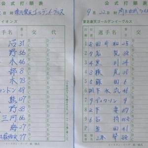 【9.22 イースタン101】イーグルス × ライオンズ in泉 先発:内海
