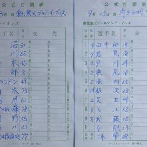 【9.23 イースタン102】イーグルス × ライオンズ in泉 先発:吉川