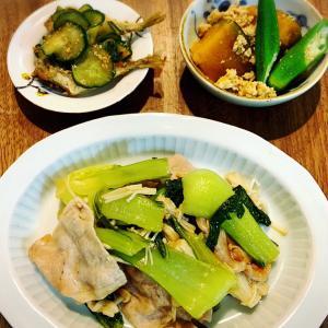 青梗菜と豚肉の蒸し炒め
