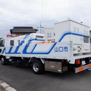 排水ポンプ車の実務訓練