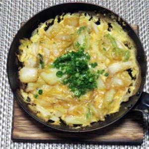 白菜の漬物炒め卵とじ、あっさりとして酒がすすみます